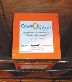 A ventilation fan installed for a crawl space in Ballantine