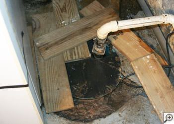 An ugly, clogged sump pump system in Roundup, Montana