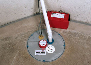 A sump pump system with a battery backup system installed in Huntley