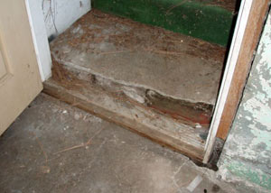 A flooded basement in Bridger where water entered through the hatchway door
