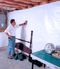 Plastic 20-mil vapor barrier for dirt basements, Shepherd, Montana installation