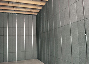 SilverGlo™ insulation and metal studs making up our Basement to Beautiful panels.  Installed in Lewistown.