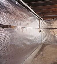 Radiant heat barrier and vapor barrier for finished basement walls in Shepherd, Montana